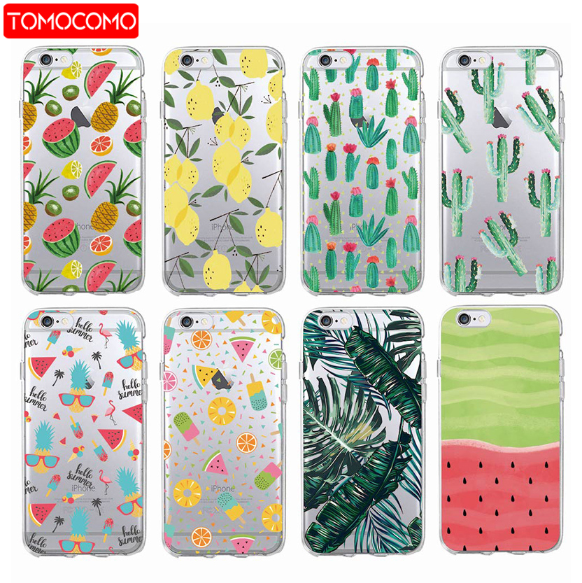 Summer Tropical Pineapple Lemon Cactus Watermelon Floral Soft Phone Case For iPhone 7 7Plus 6 6Plus 8 8PLUS X XS Max SAMSUNG(China)