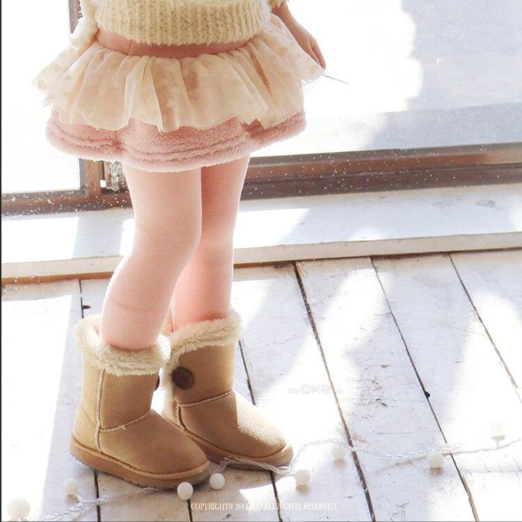2016 Nytt höst vinter bomullsskinn Leggings flickor barn spets rosett mager kjol byxor byxor baby flicka blommbyxor barn kläder