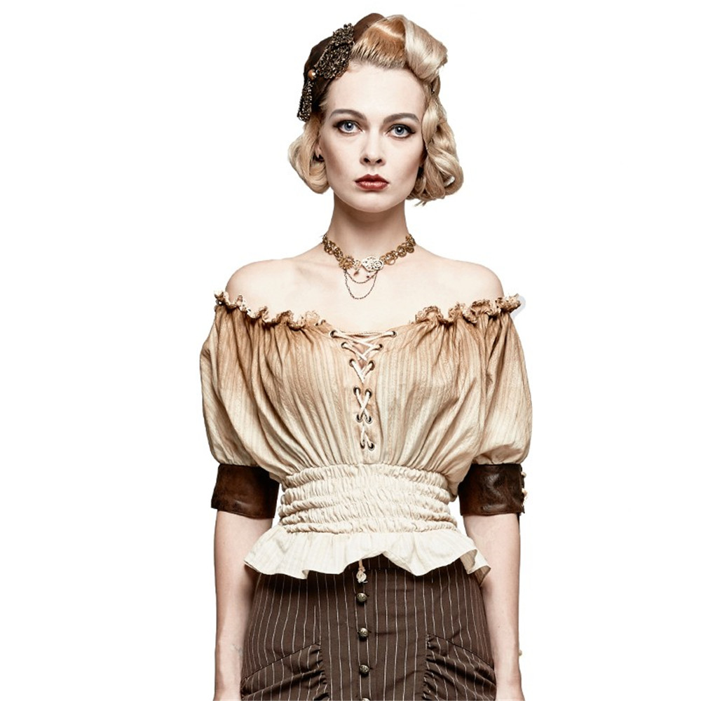 Steampunk Slash Neck Shirt Classical Tight Waist Short Sleeve Cotton Shirt Jacquard Striped Tops Black Blouse