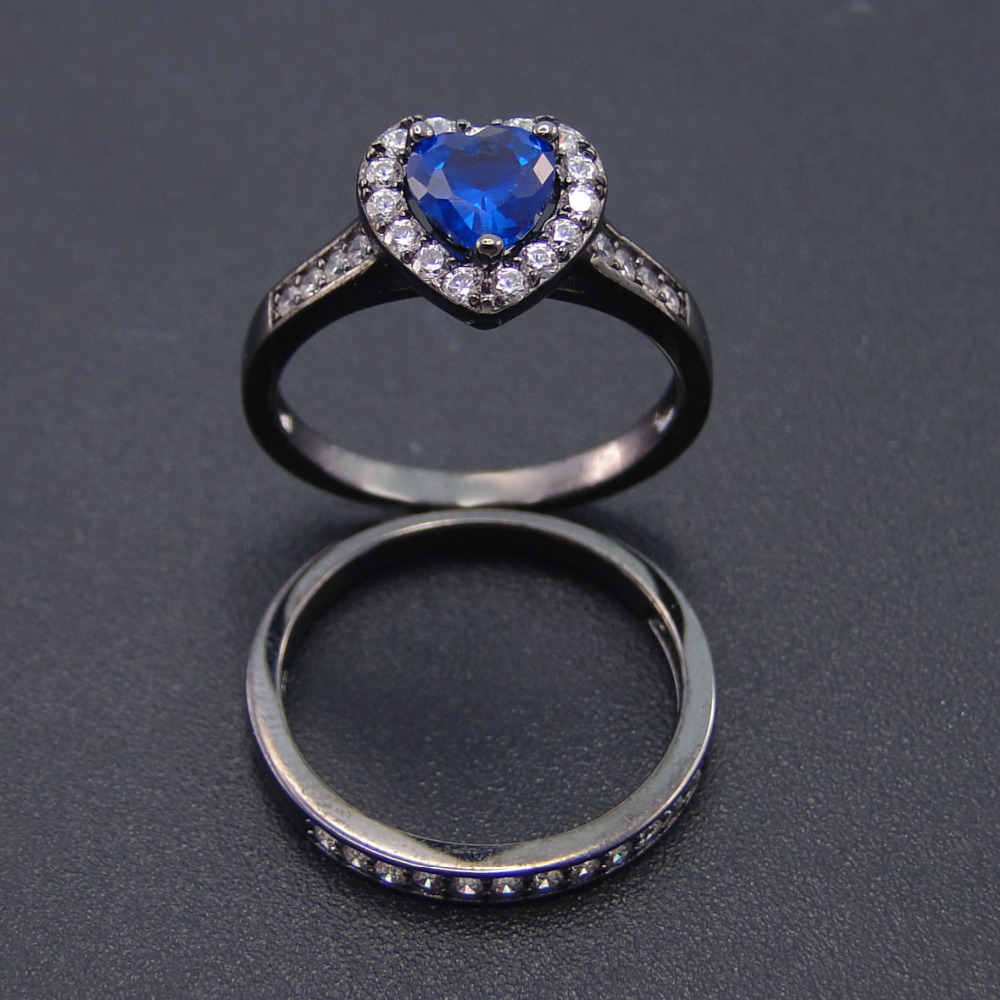 Wedding Rings Set 100 925 Silver Ring Sets Blue Color Stone Heart Shape Black Gold Engagement Jewelry In From