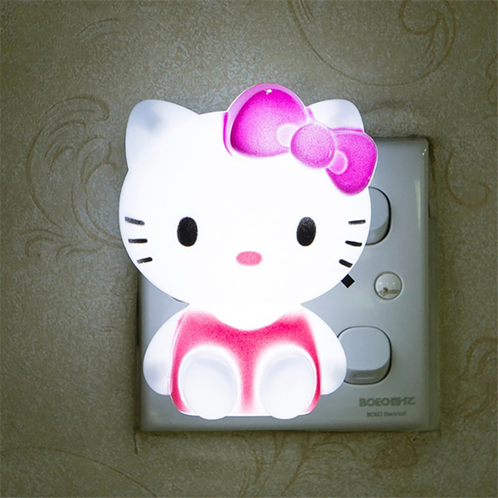 Mini Cartoon Hello Kitty LED Night Light AC110V-220V Night Light With US/EU Plug Gift For Kid/Baby/Children Bedroom Bedside Lamp artpad pink blue cartoon figures led unicorn lamp e14 resin dimming eu us plug in kids baby night light for children