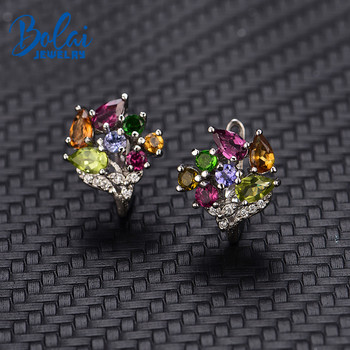 Bolai 100% natural tourmaline clasp stud earrings 925 sterling silver multi color gemstone floral luxury jewelry for women 2019