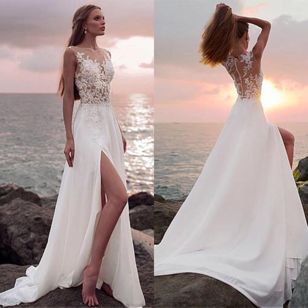 2019 Cheap Beach Wedding Dress Sleeveless Appliques Illusion Back Custom Made Bridal Gowns Split Chiffon Vestidos De Noiva