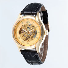Top Brand Luxury Gold Skeleton Watches Men Automatic Mechanical Watches Leather Band relogio masculino reloj hombre GOER hot 2016 nary luxury brand business men s automatic skeleton mechanical military wrist watchmen full leather band reloj