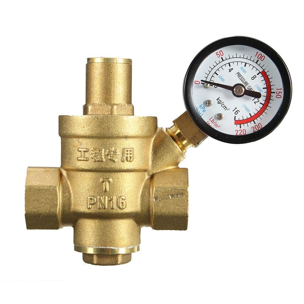 "DN20 3/4"" Brass Water Pressure Reducing Maintaining Valves Regulator Adjustable Relief Valves With Gauge Meter 85*63mm"