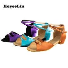 HoYeeLin Girl Women's Open Toe Low Heeled Latin Tango Salsa Dance Dancing Practice Shoes