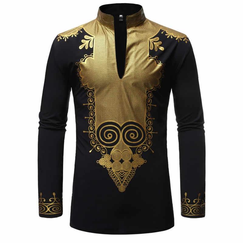 Collar De Vestir Larga Moda Manga Africano 2019 Ropa Camisa