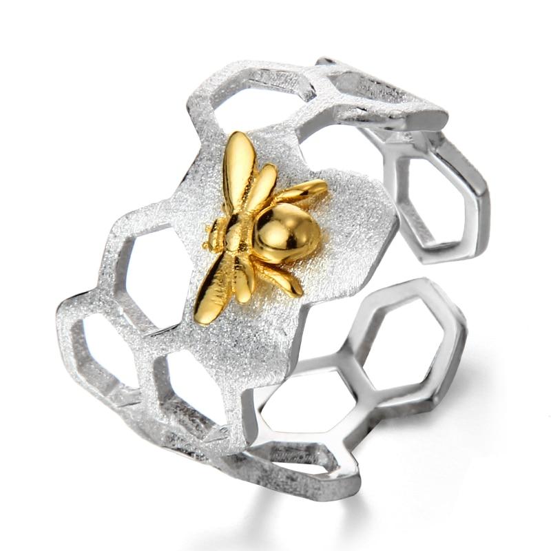 LARGERLOF ANILLO DE PLATA 925 mujeres ajustable cerveza anillo hecho a mano 925 anillos de joyería de plata para las mujeres JZ70107 - 2
