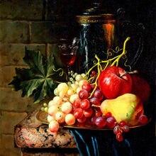 652eaffe2 Uvas maçã pêra e vinho pinturas pós-moderna estilo pintura a óleo pintura  da lona