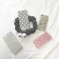 Cool Harajuku Fashion Shinny Glitter Metallic Mirror Silver Gray Polka Dot Heart Slim Cover For IPhone