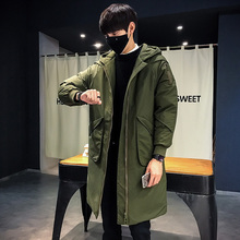 Fahion 2017 Japanese Long Hat Cotton-padded Clothes Male Parka Winter Coat Concise Jacket Inverno Men Zipper Decorate Casaco