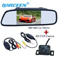 "Colorful night vision car rear reversing camera 4 ir+hd 5"" car mirror monitor+wireless car receiver and  transmitting universal"