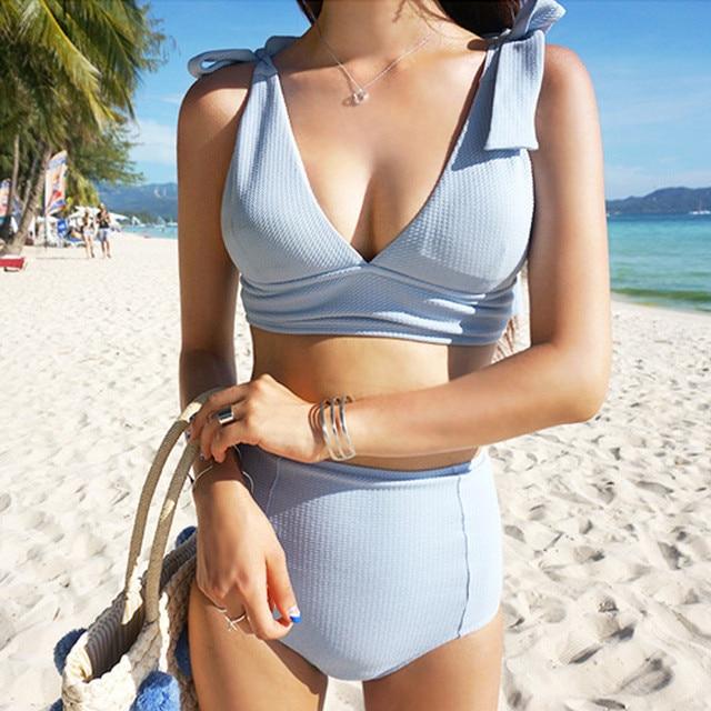 13d63182e95e1 2018 New Solid Sexy Patchwork Women Bikini Set Korean Stylish Two-piece  Beach Swimwear Plus Size High Waist Biquini 63603