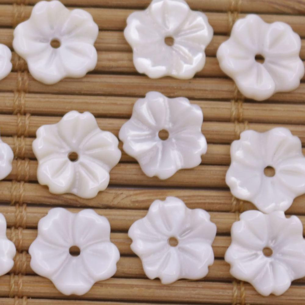 Купить с кэшбэком 20 PCS Shell Natural White Mother of Pearl Jewelry Making 10mm Flower
