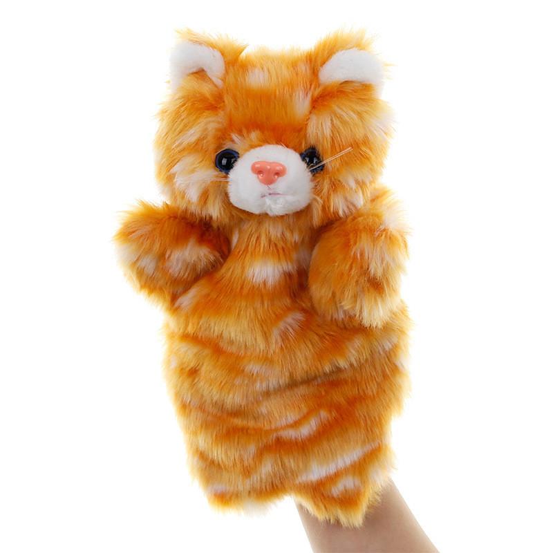 Animal Hand Puppet Cat Dolls Plush Hand Doll Early Education Learning Toys Children Marionetes Puppets For Telling Story