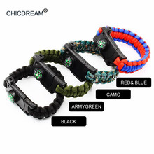 Handmade Braided Bracelets Multi-function Outdoor Paracord Survival Bracelet Knife Compass Camping Rescue Emergency Rope Bangles emak survival watch outdoor camping medical multi functional compass thermometer rescue paracord bracelet equipment tools kit