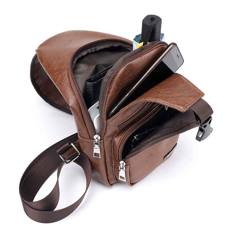 Men Waterproof USB Charging PU Leather Shoulder Chest Bag Pack Crossbody Travel