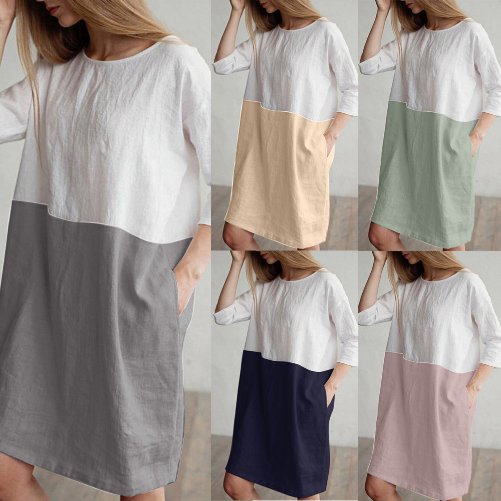 Mother & Kids Pregnancy & Maternity Telotuny 2018 Early Autumn Loose Women Dress Summer Shirt Dress Women Cotton Linen Casual Pocket Dress Women Jl 24 Discounts Sale