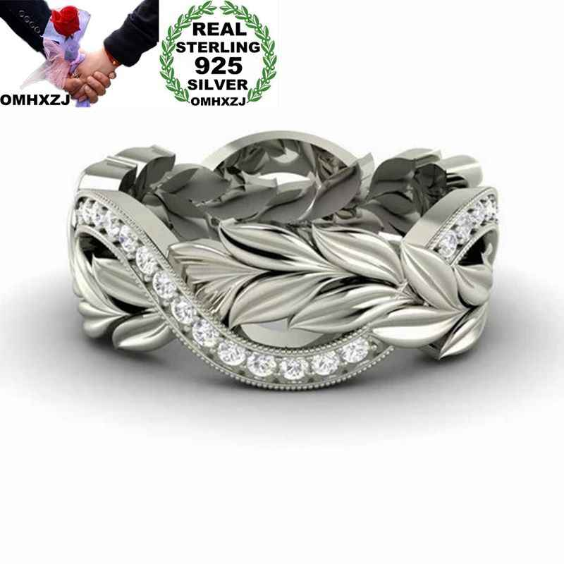 OMHXZJ Wholesale European Fashion Woman Man Party Wedding Gift Leaves Silver White AAA Zircon 925 Sterling Silver Ring RR124