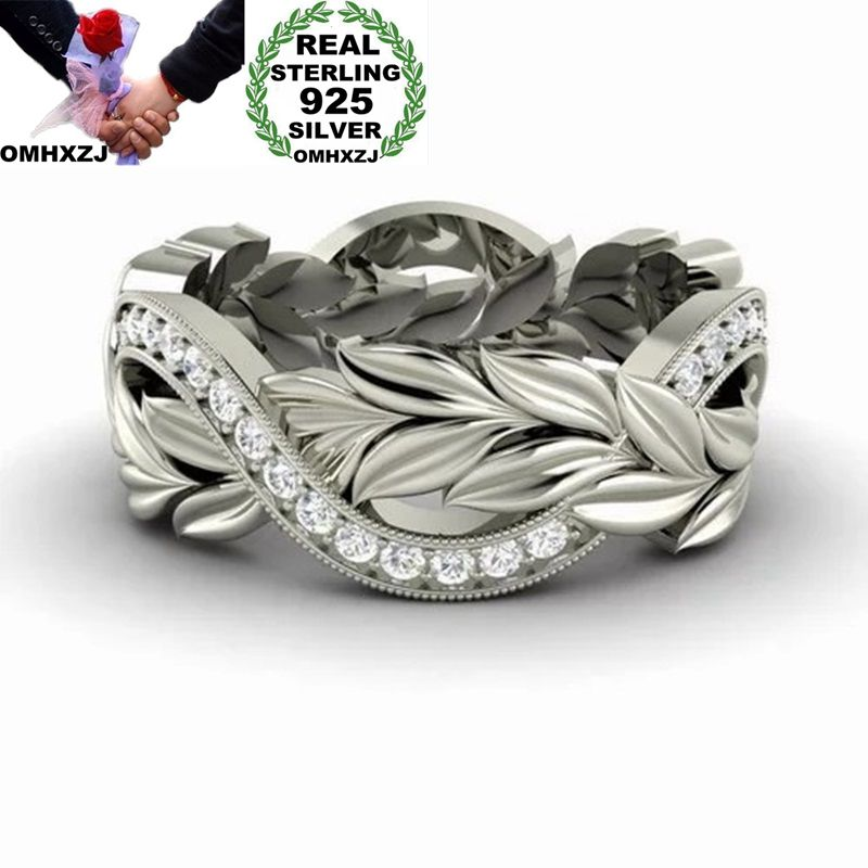 OMHXZJ Wholesale European Fashion Woman Man Party Wedding Gift Leaves Silver White AAA Zircon 925 Sterling Silver Ring RR124