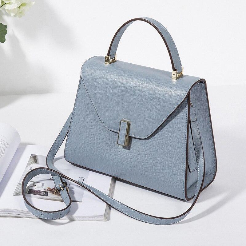 Мода 2019 г. Леди saffiano пояса из натуральной кожи сумка для женщин Сплошной сумки OL Сумочка бизнес стиль