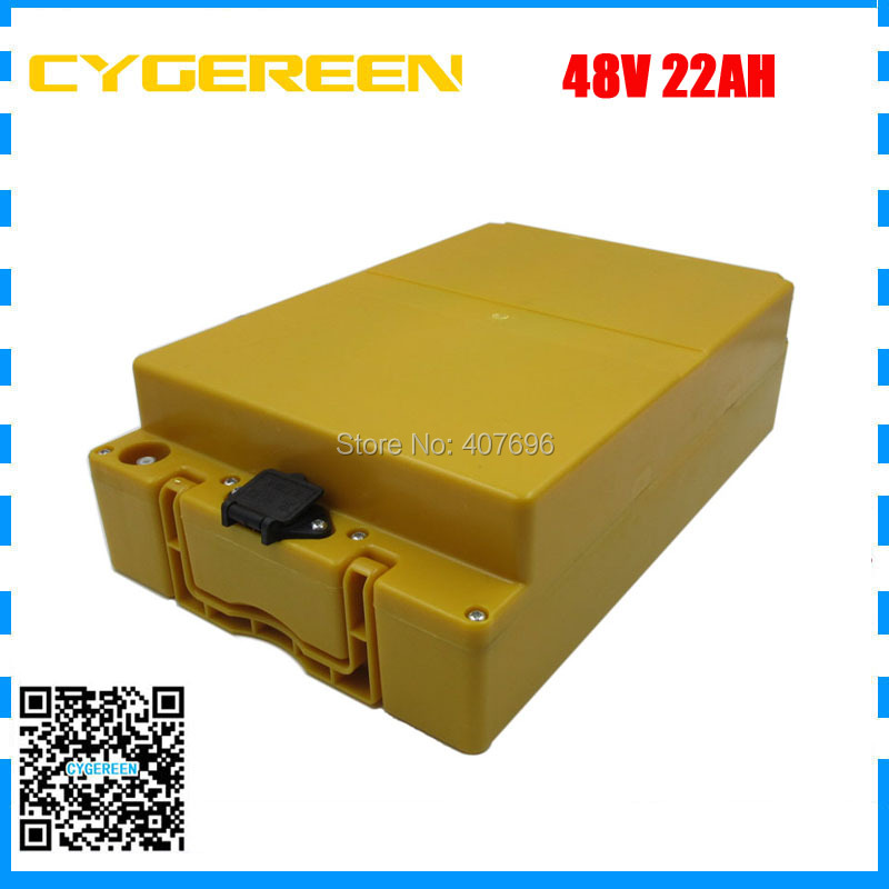 1000W 48V li-ion battery pack 48V 22AH Scooter battery With yellow case 48 V ebike battery 22AH with 30A BMS 54.6V 2A Charger