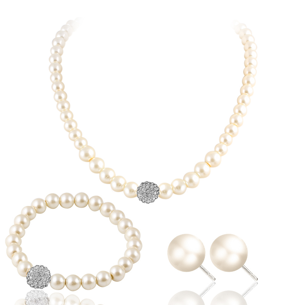 SIZZZ Bridal Sweater Chain Necklace Kit Wild Simulated-pearl Necklace Stud Earrings Bracelet Set For Women
