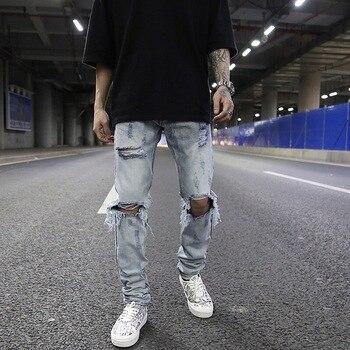 Men Jeans High Street Wash Whitening Big Hole Jeans Street Rap Tide Male Trousers Designer Jeans Biker Jeans Men's Skinny Jeans