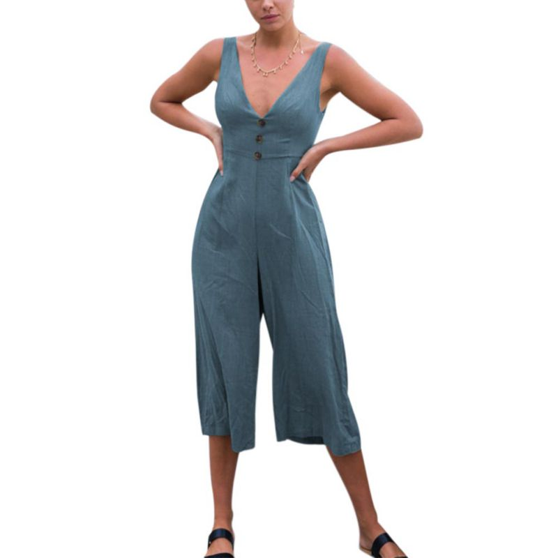 Women's Sexy V Neck Spaghetti Strap Jumpsuit Sleeveless Backless Wide Leg Overalls Rompers P2