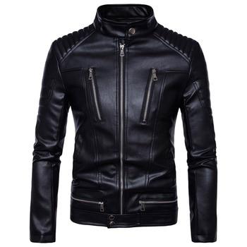 Plus size 5XL British Motorcycle Leather Jacket Men Classic Design Multi-Zippers Biker Jackets Male Bomber Leather Jackets Coats