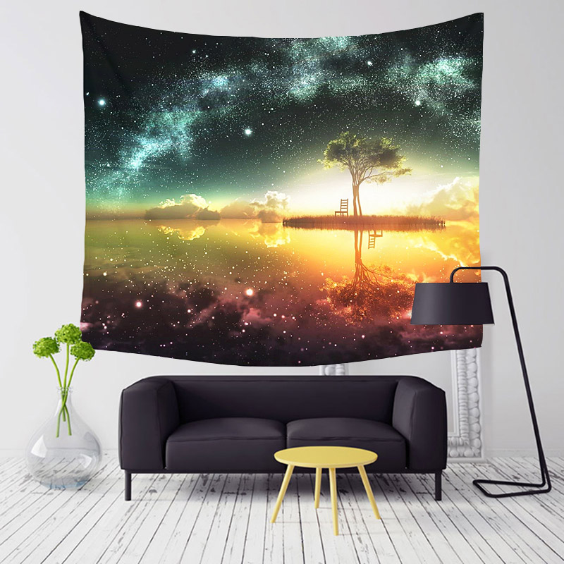 Monily Polyester Starry Beautiful Night Scene Pattern Tapestry Tropical Trees Living Room Decor Wall Hanging Yoga