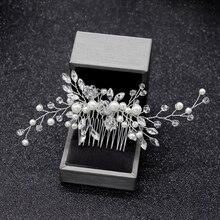 61cba436914e Elegante pelo de la boda peines para La novia cristal Rhinestones perlas  mujeres horquillas nupcial cabello