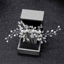 Elegant Wedding Hair Combs for Bride Crystal Rhinestones Pearls Women Hairpins Bridal Headpiece Hair Jewelry Accessories(China)