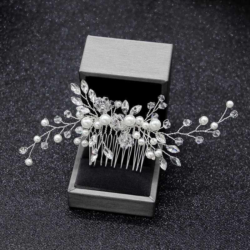 Elegant <font><b>Wedding</b></font> <font><b>Hair</b></font> Combs <font><b>for</b></font> Bride Crystal Rhinestones Pearls Women Hairpins Bridal <font><b>Headpiece</b></font> <font><b>Hair</b></font> Jewelry <font><b>Accessories</b></font> image