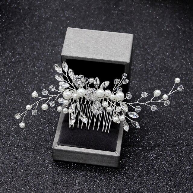 c9bb25856968 Elegante pelo de la boda peines para La novia cristal Rhinestones perlas  mujeres horquillas nupcial cabello joyería Accesorios