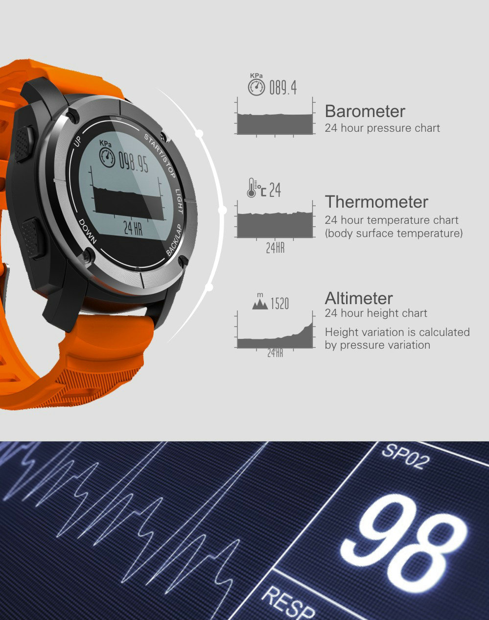Greentiger GPS Outdoor S928 Smart Watch Heart Rate Monitor Smart Wristband Sport Smartwatch for Android IOS Phone 9