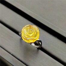 الطبيعي الأصفر العنبر قابل للتعديل خاتم الأحجار الكريمة 13x13 مللي متر الحجر للمرأة رجل الزفاف الخطوبة AAAA فضة خواتم مجوهرات