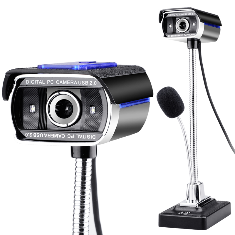 USB 2.0 Wired Webcams PC Laptop Video Camera Adjustable Angle HD LED Night Vision With