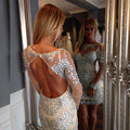 Luxury 2016 New Summer Sexy Mini Short Long Sleeve Shining Beaded Women Special occasion Cocktail Party Dress robe de cocktail