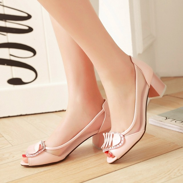 Women New Fashion Arrival Summer Woman Pu Leather Sequins Fish Mouth Sweet Low Thick Heels Dress Business Shoes Plus Size:43