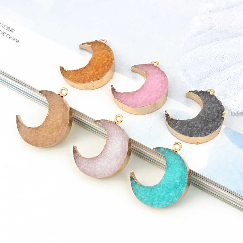 2pcs Lovely Moon Full Resin Charms Eardrops Findings DIY Pendant Making Necklace Bracelet Oorbellen Jewelry Accessories F276