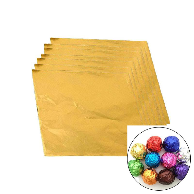 100Pcs Golden Aluminum Foil Candy Chocolate Cookie Wrapping Tin Paper Party DIY Metal Embossing Gift Packaging Craft Paper