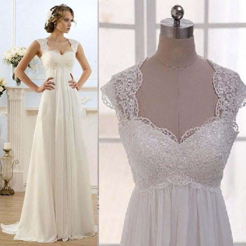 vintage modest wedding gowns capped sleeves empire waist plus size pregnant maternity dresses beach chiffon country