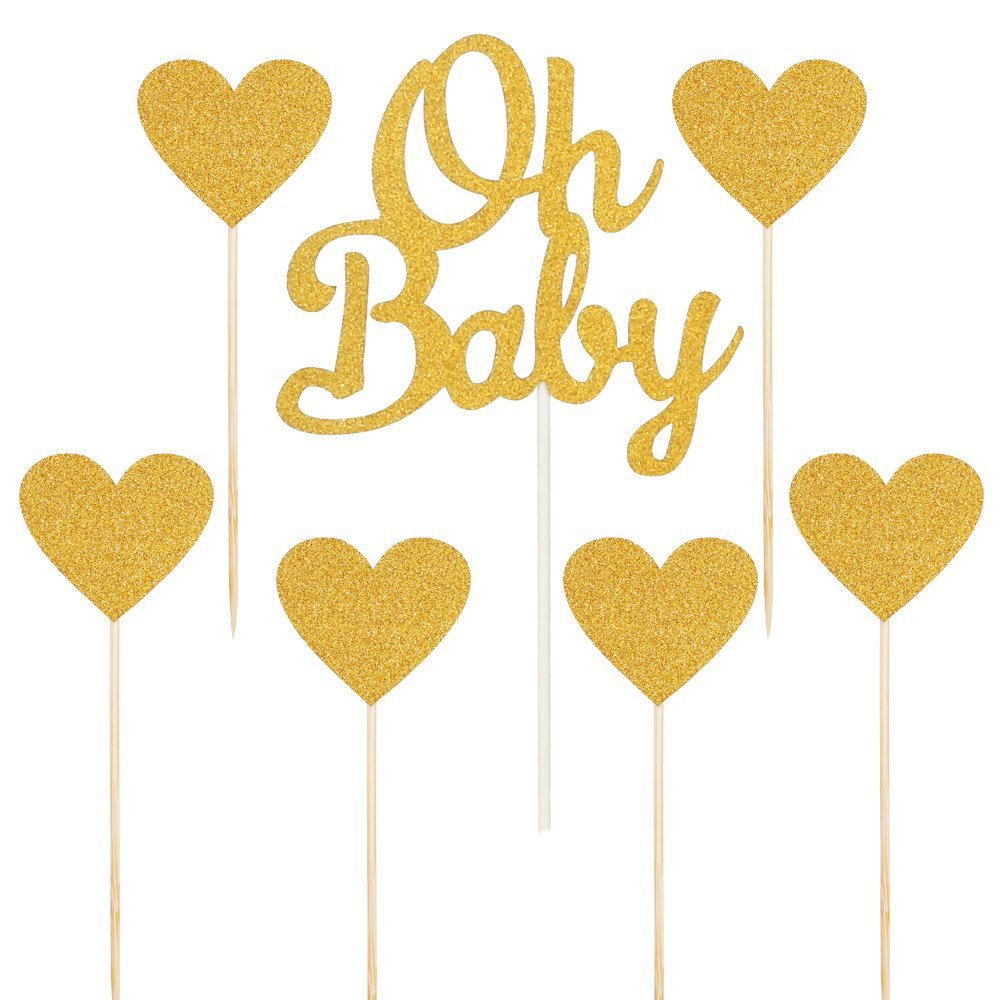 7pcs/lot Gold Glitter Cake Topper For Baby Kid Girls Boys1st Happy Birthday Party Shower Anniversary Dessert Decoration Sup