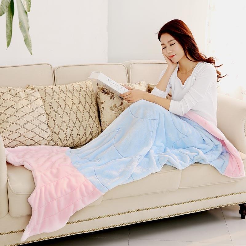Buy super soft fleece shark fish mermaid for Cobertor para sofa