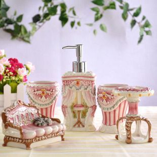 Captivating Fashion Europe Style Furniture Ceramic Hand Painting Five Pieces Bathroom  Set Bathroom Accessories Free Shipping