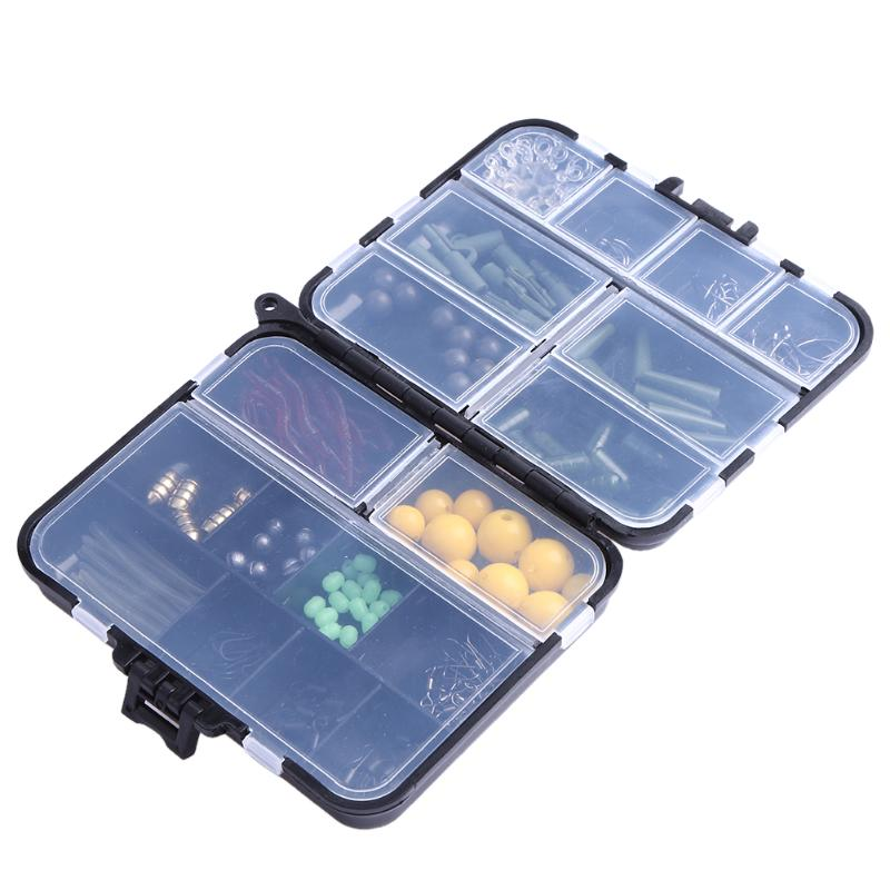 189pcs/box Fishing Accessories Kit Jig Fishing Hooks Swivels Sinker Stoppers Connectors Swivels Snaps with Fishing Tackle Box