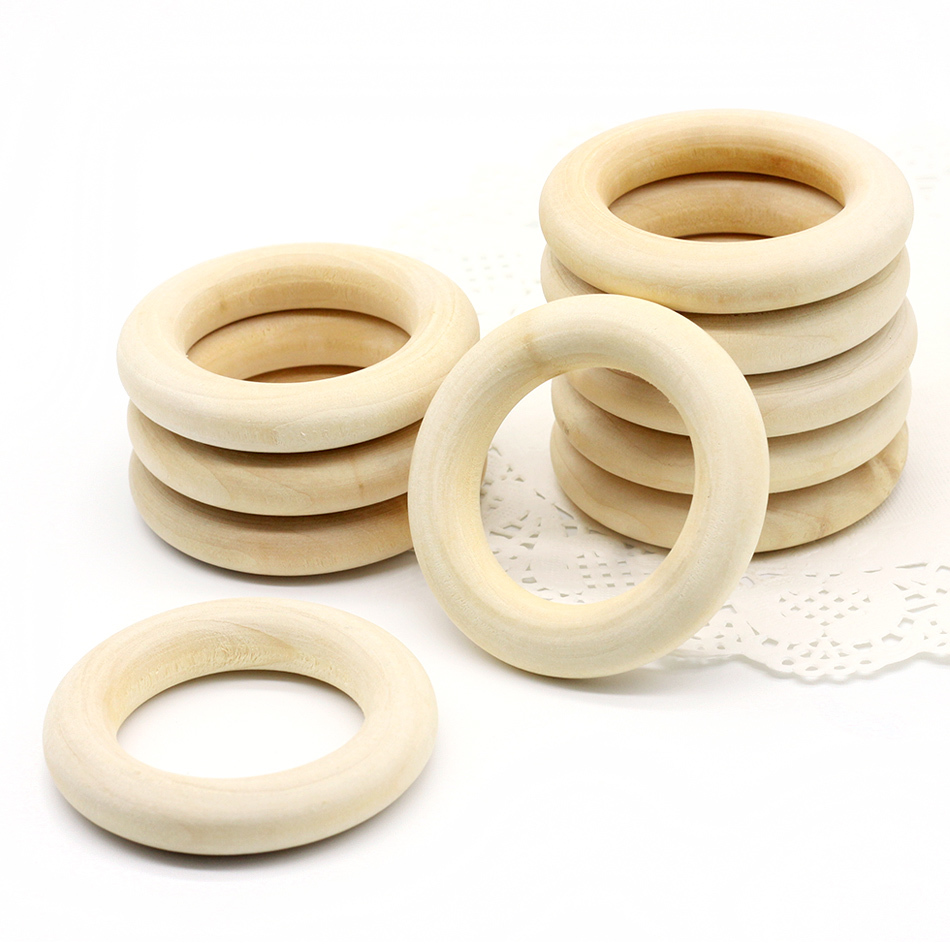 10PC 40mm 55mm 70mm Baby Natural Teething Rings Wooden Necklace Bracelet DIY Crafts Unfinished Wood Rings Crafts Baby Teether