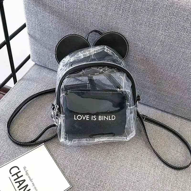 PCS Mulheres Mickey Mini-mochilas 2 PVC Transparente Estudante Mochila Feminina Mochila Escolar Adolescente Meninas Travel Bag Bolsa Transparente
