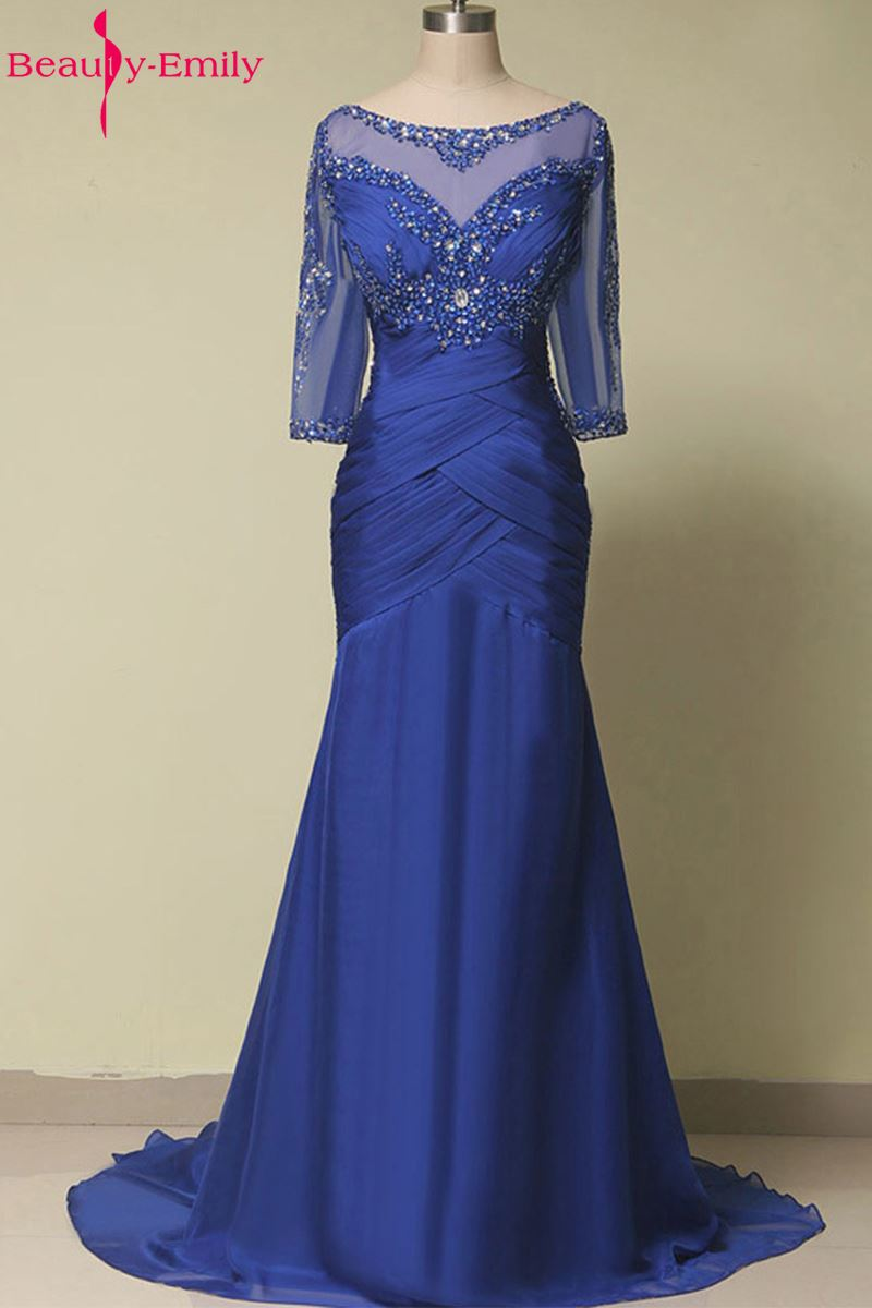 Beauty Emily Plus Size Blue Long Mermaid Lace Mother Of The Bride Dresses 2017 O Neck Formal Wedding Party Gowns